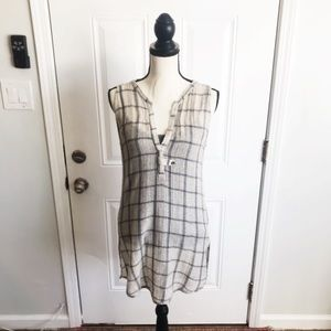 ANTHROPOLOGIE - Dolan Sheer Taupe Plaid Knit Tunic